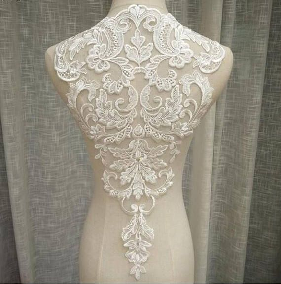 DIY Lace Embroidery Applique Bamboo Leaves Sewing Patchwork Wedding Bridal Dress