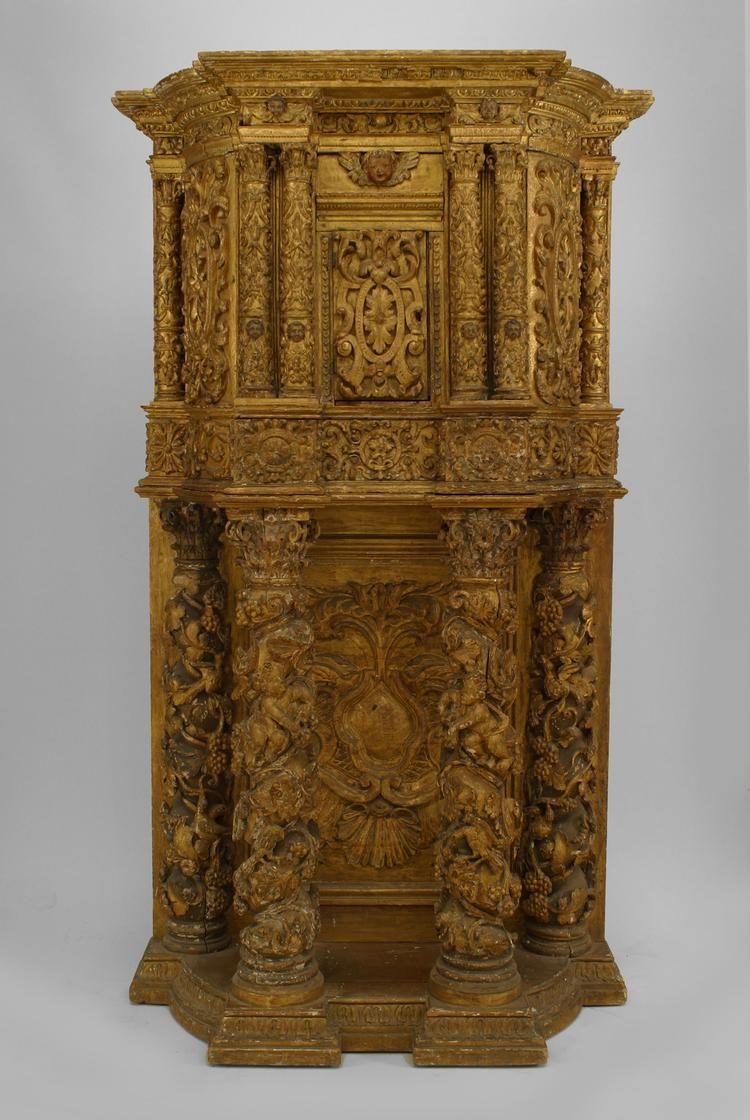Italian Venetian cabinet/case-piece cabinet gilt, 17th century.