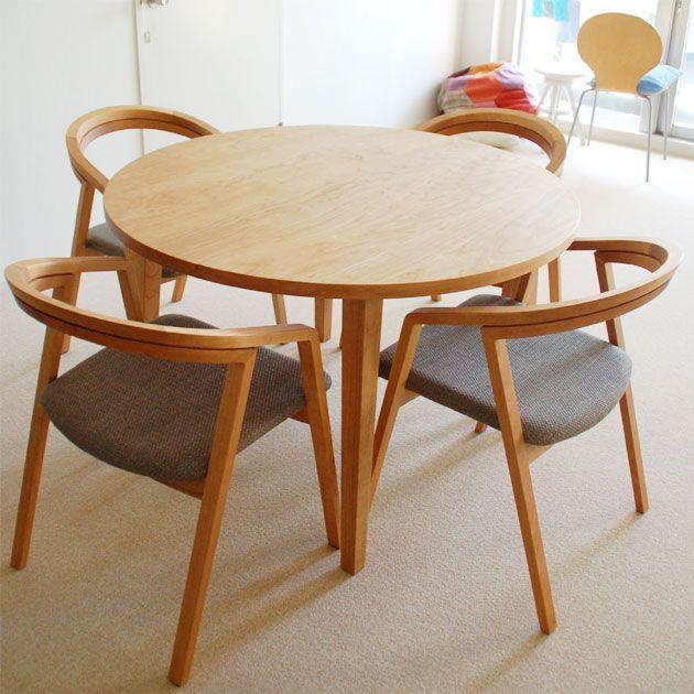 チェリー材丸テーブル uuチェア 無垢テーブル チェア pinterest