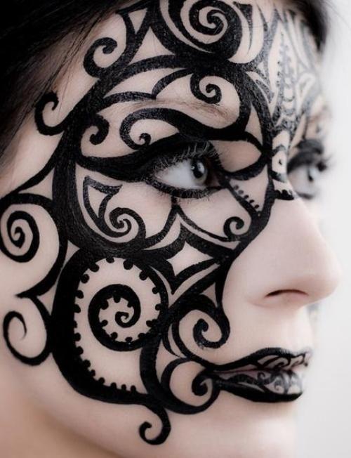 Schminktipps Fasching Schwarze Konturen Maske Halloween Makeup