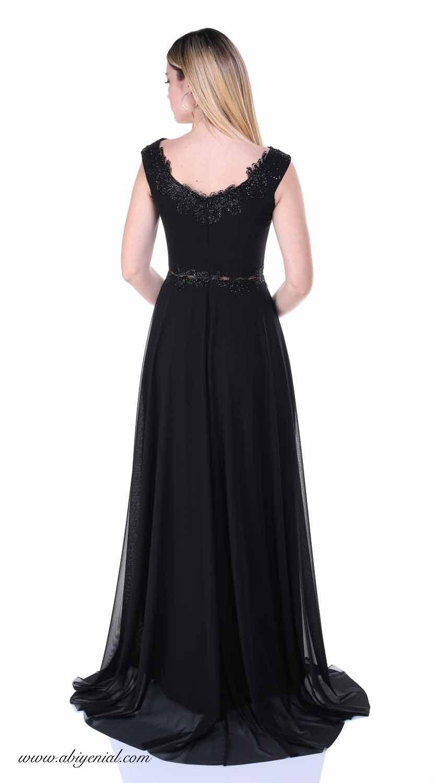 10232e28564ac Siyah uzun abiye elbise, V yaka #tül #siyah #sade #kısa #abiye ...
