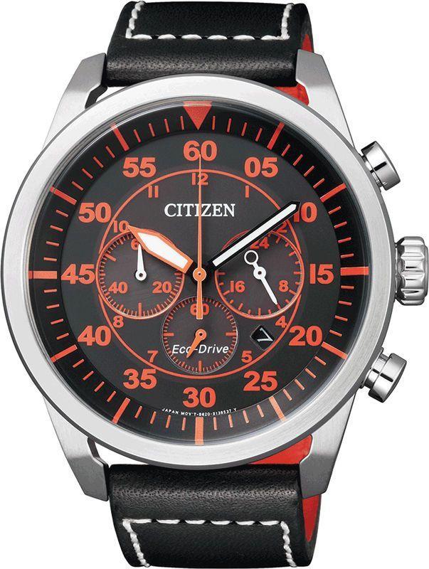 Citizen Eco Drive Chronograph Black Orange 100m Sports Leather Watch Ca4210 08e Citizen Watch Mens Watches Citizen Mens Watches For Sale