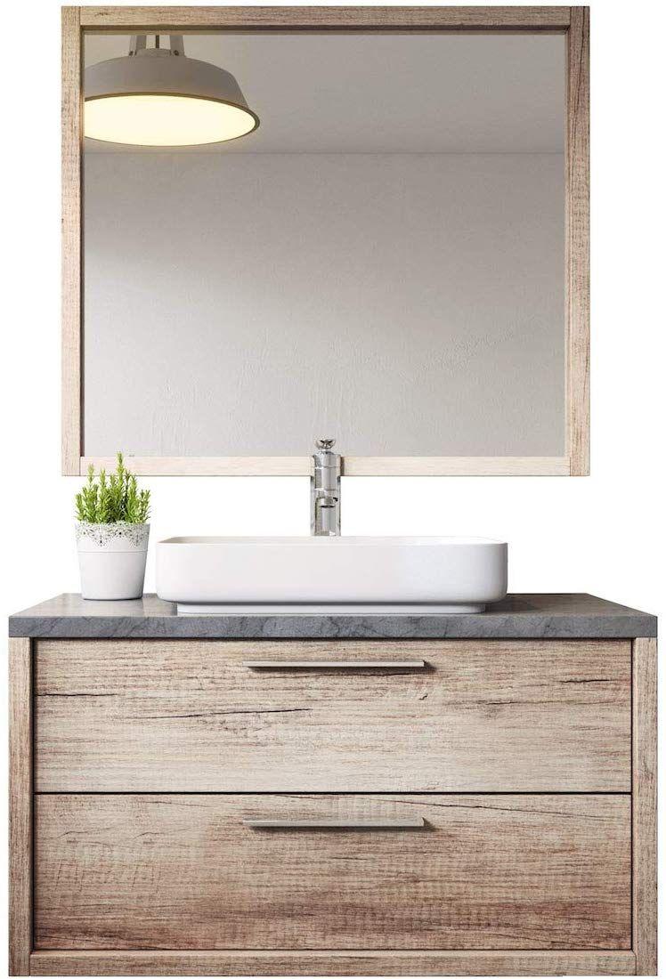 Badezimmer Badmobel Indiana 90 Cm Nature Wood Unterschrank Schrank Waschbecken Spiegel Amazon De Kuche Haush Unterschrank Badezimmer Aufbewahrung Schrank