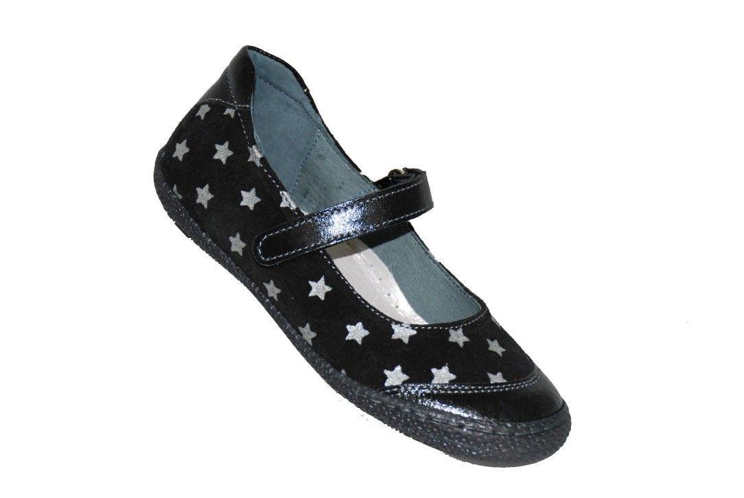 03d572276c1 #grils #footwear Μπαρέτα Moϋγερ δερμάτινη/σαμουά, μαύρη με σχέδιο αστέρια,  με