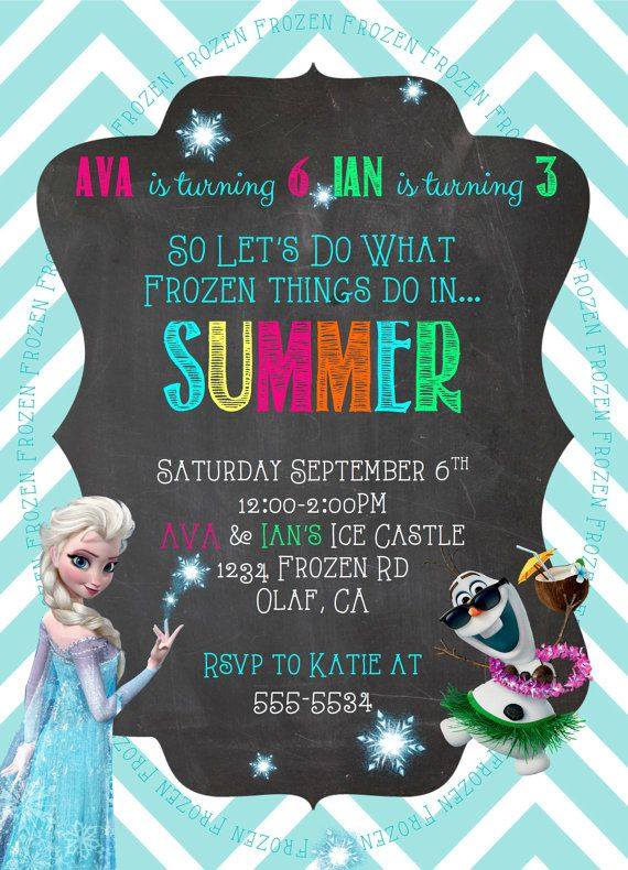 Chalkboard Frozen Birthday Party Invitation, Elsa and Olaf Pool - invitation birthday frozen