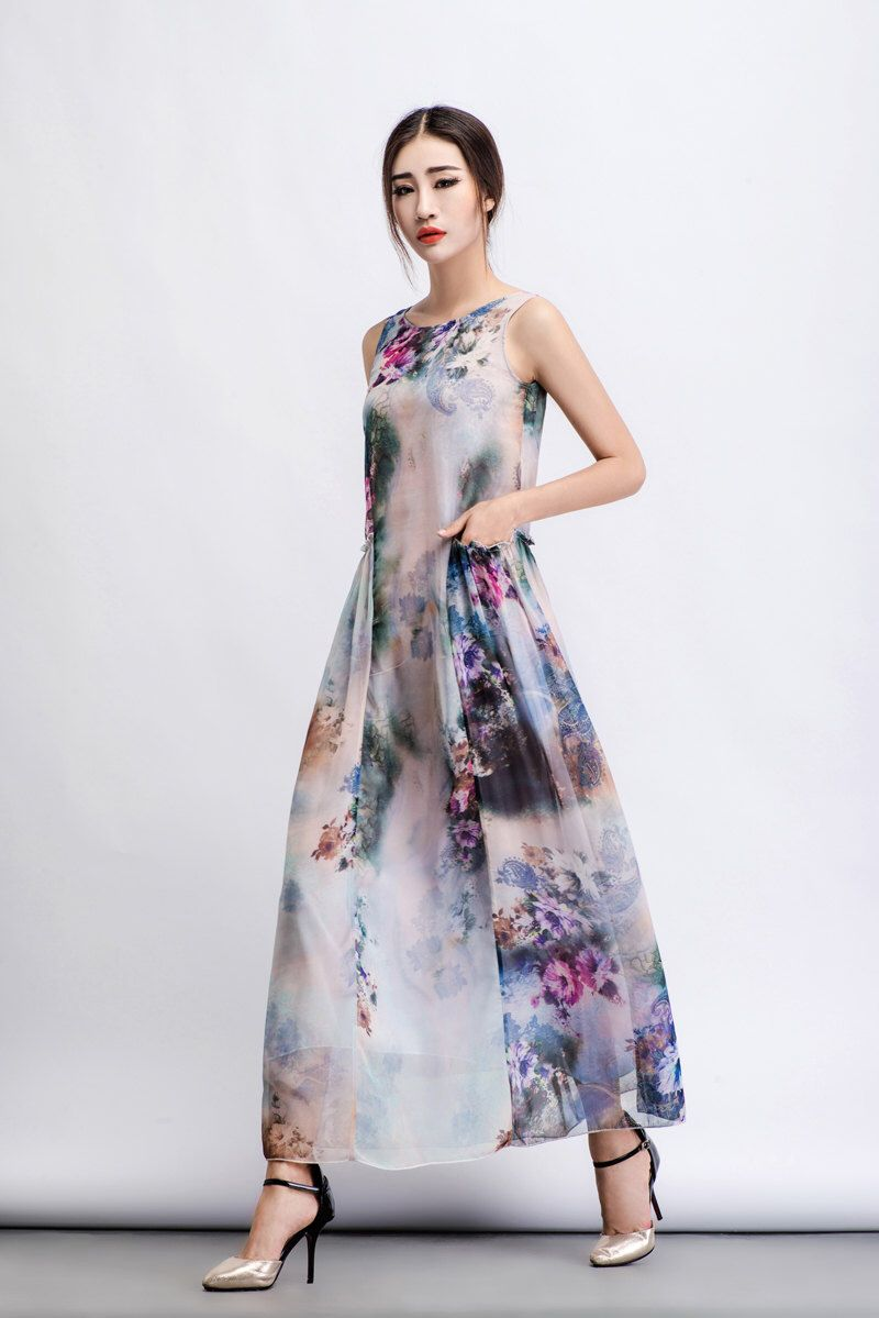 Plus size maxi dresses for summer wedding  Floral Dress chiffon dress Floral maxi Dress maxi dress floral