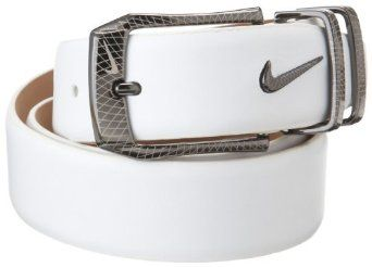 NIKE Golf Laser Etched Belt and Buckle (White, 38),