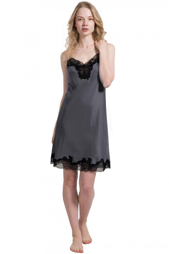 Petite  Silk  Nightgown  Pajamas  Slip For  Ladies - OOSilk 9827a9a74
