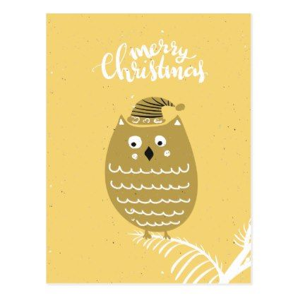 Cute Faux Gold Christmas Owl Postcard - holiday card diy personalize design template cyo cards idea