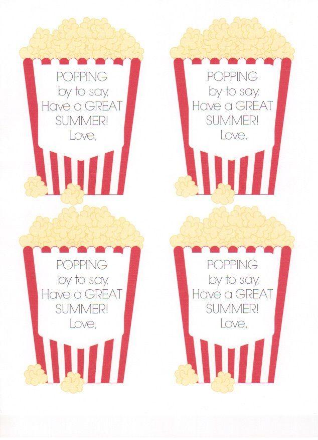 picture regarding Popcorn Printable titled Popcorn printable for finish of calendar year reward Craft Programs