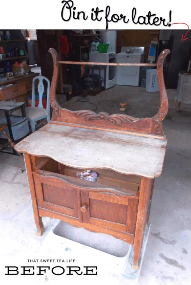 This antique is taken from trash to treasure in this furniture makeover #anniesloan #milkpaint #paintedfurniture #chalkpaintfurniture #diyfurniture