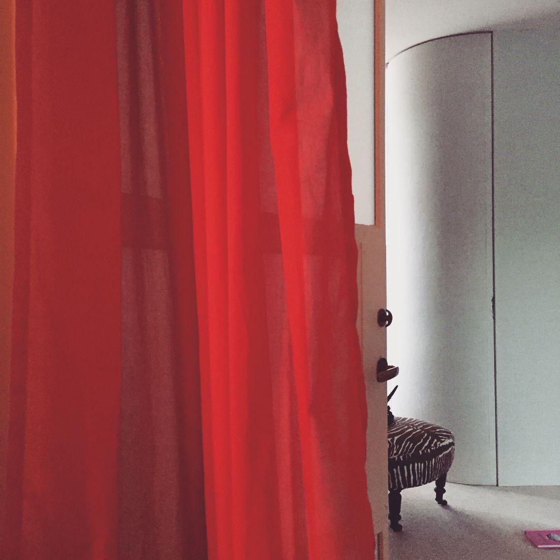Red curtains zebra chair decor interior design