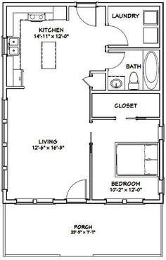 24x30 House 1 Bedroom 1 Bath 720 sq ft PDF Floor Plan Instant Download Model 2B
