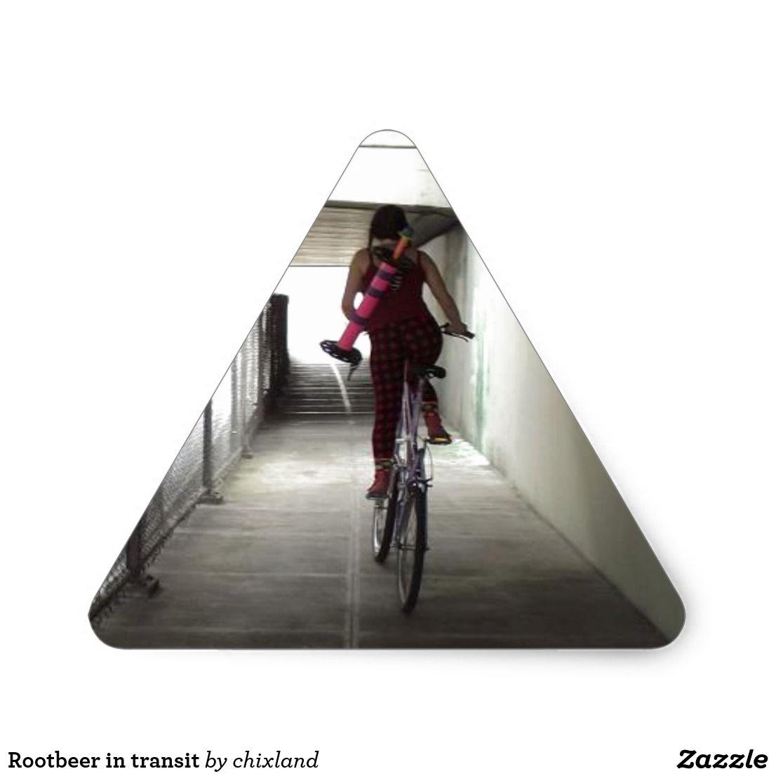 Rootbeer In Transit Triangle Sticker Zazzle Com Bike Flights
