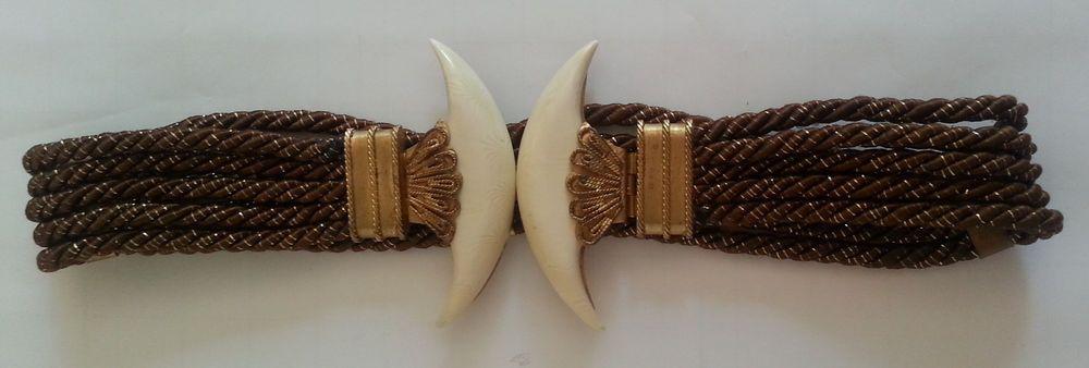 Vintage Art Deco Style Belt Cord Brown Gold Metallic Lotus Egyptian Metal 24in