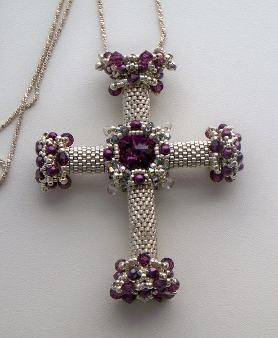 Purple and silver swarovski crystal beaded cross necklace by jo ann purple and silver swarovski crystal beaded cross necklace by jo ann lewis find the tutorial aloadofball Choice Image