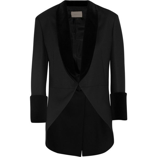 Christopher Kane Velvet-trimmed twill blazer (26 450 ZAR) ❤ liked on  Polyvore