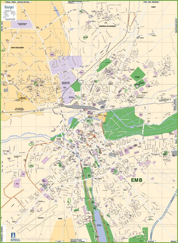 Large detailed tourist map of Bourges | Maps