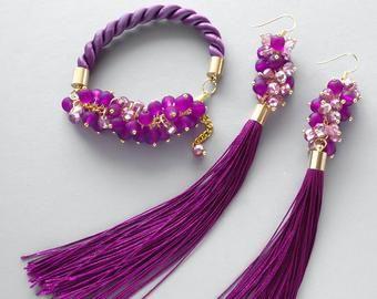 Conjunto de joyería púrpura conjunto de joyas violeta | Etsy