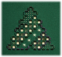 Frosty Pine - an original Hardanger design that would make a great Christmas ornament
