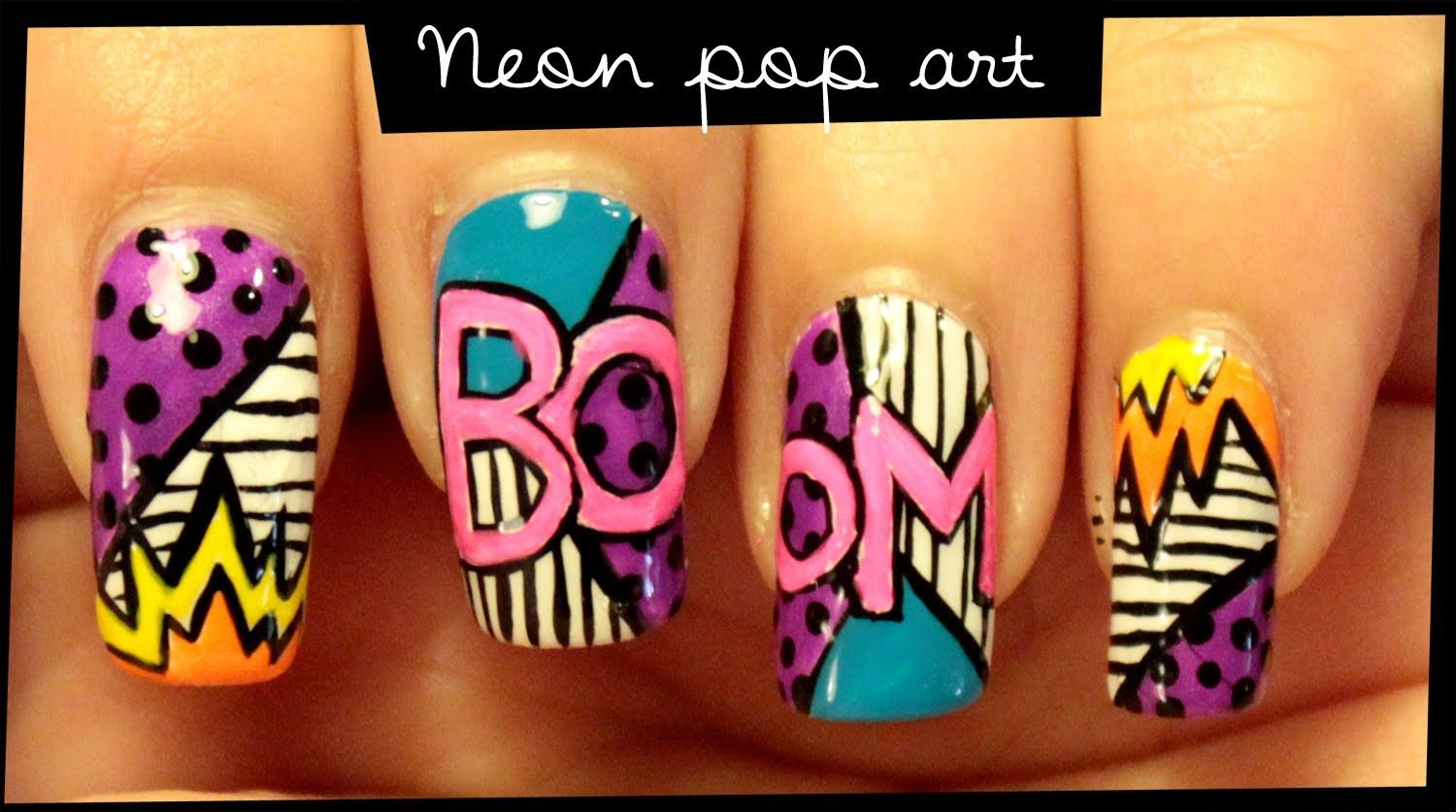 Neon Pop Art nail art | belleza | Pinterest | Uña decoradas ...