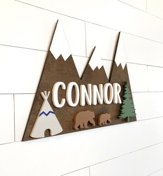 Custom Name Sign | Mountain Sign | Baby Name Sign | Nursery Room Decor | Wood Sign | Nursery Wall Art | Baby Shower Gift | Wood Name Board