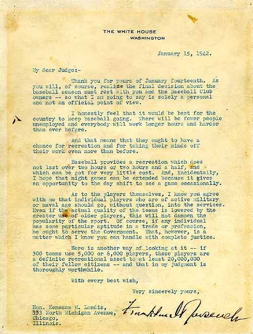 Green Light Letter From Fdr During Wwii To Kenesaw Landis Urging
