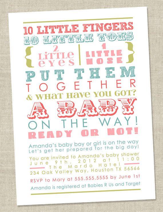 Pastel Baby Shower Invitation words gender by miragreetings - baby shower invitations words