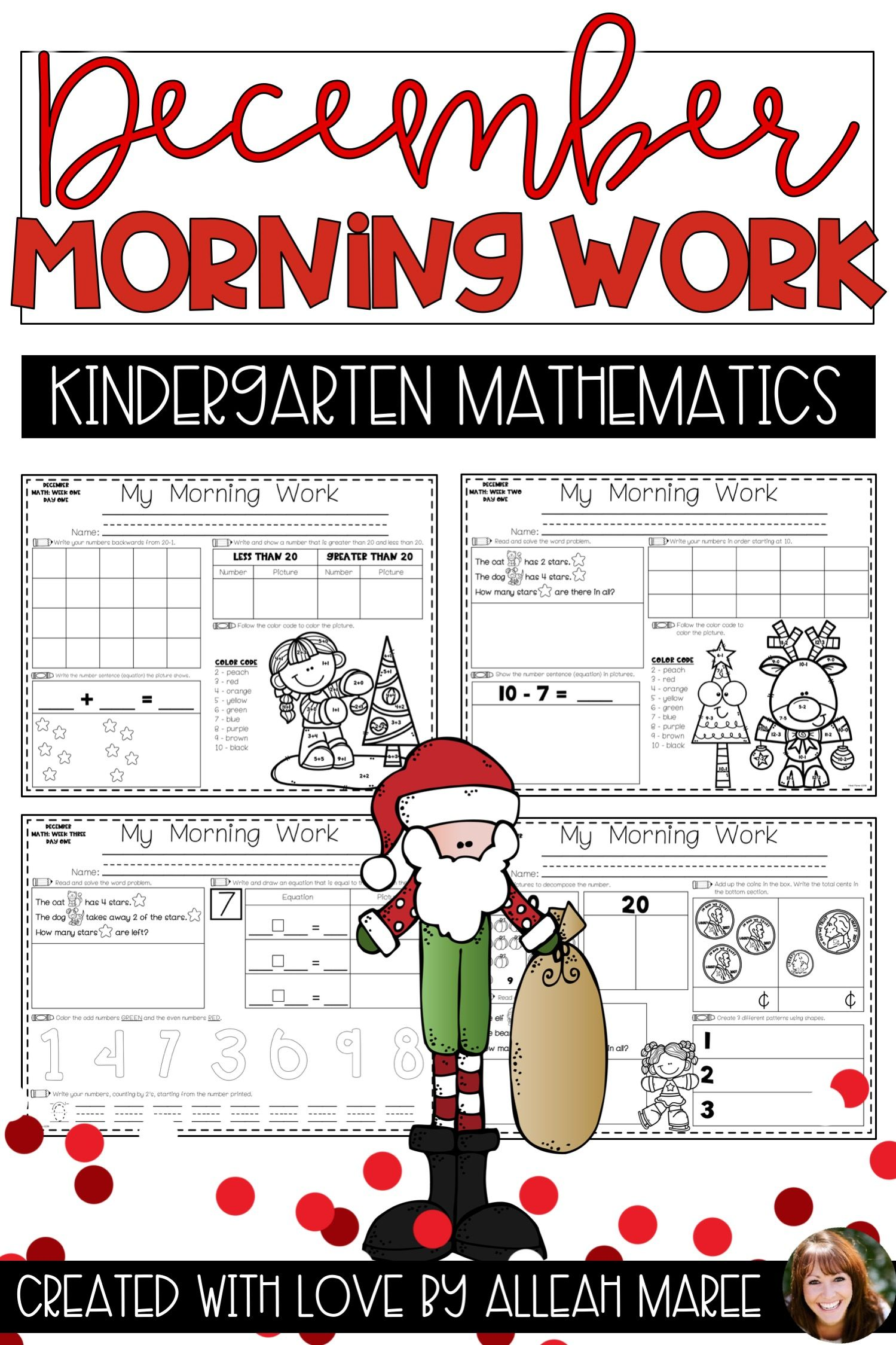 Kindergarten Morning Work Math Worksheets And Printables