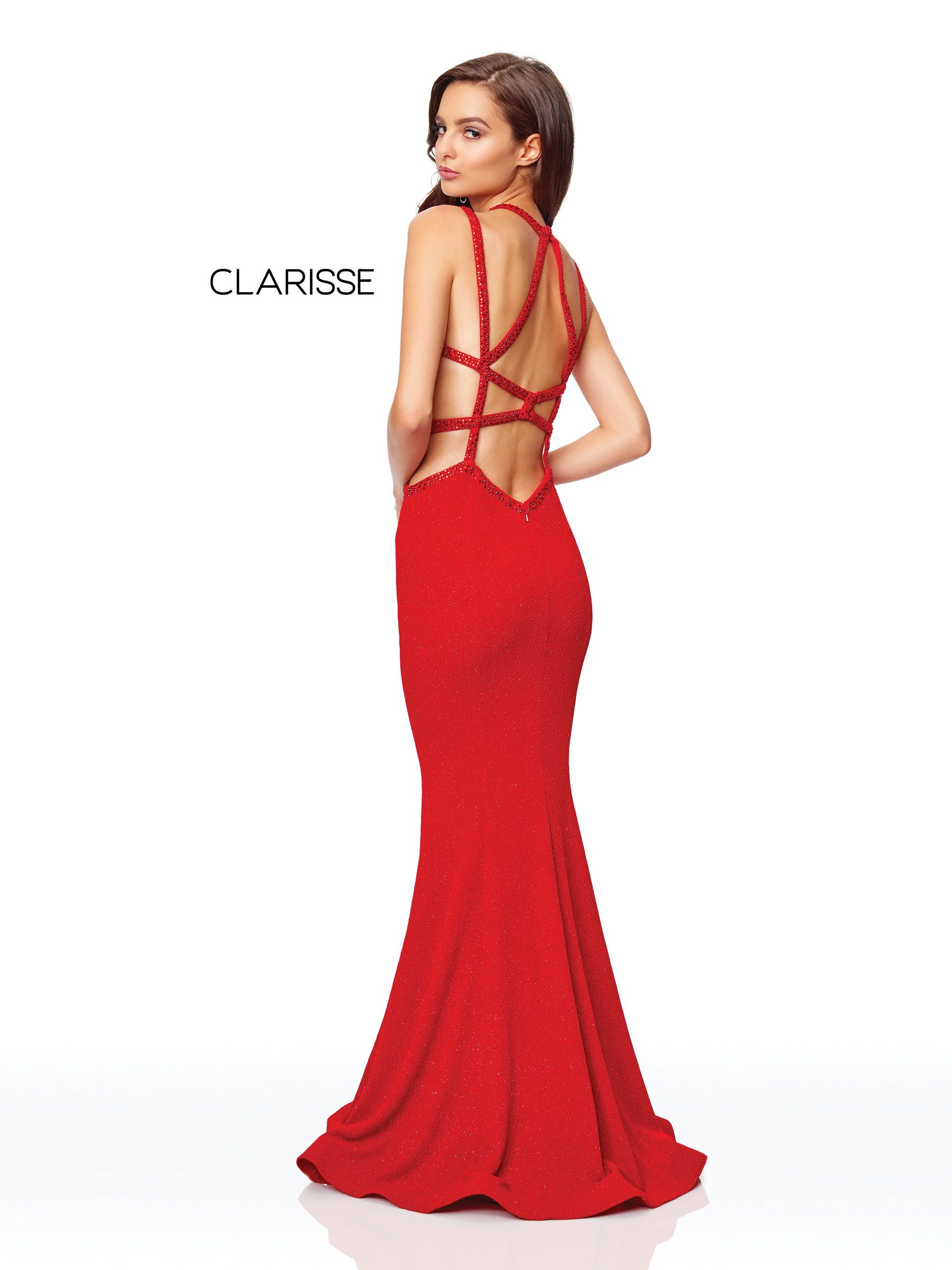 red fit to flare glitter jersey prom dress with detailed