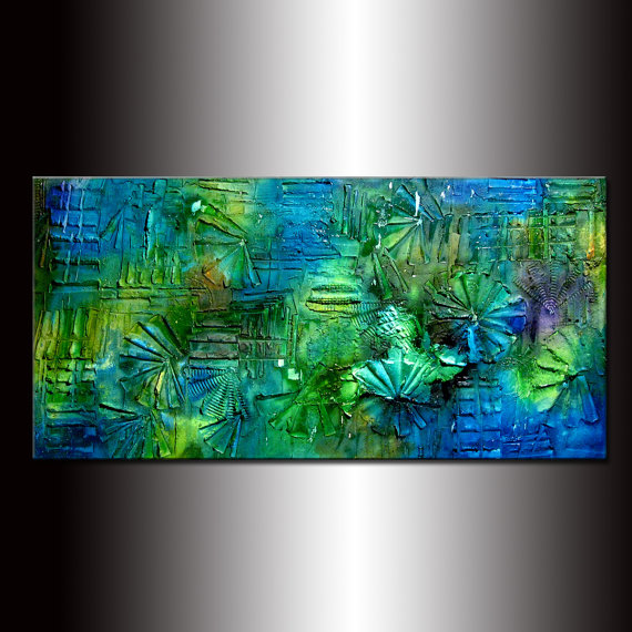 Texture painting ,Original Abstract Modern Art , Blue , Green Contemporary Art By Henry Parsinia 48x24 on Etsy, $450.00