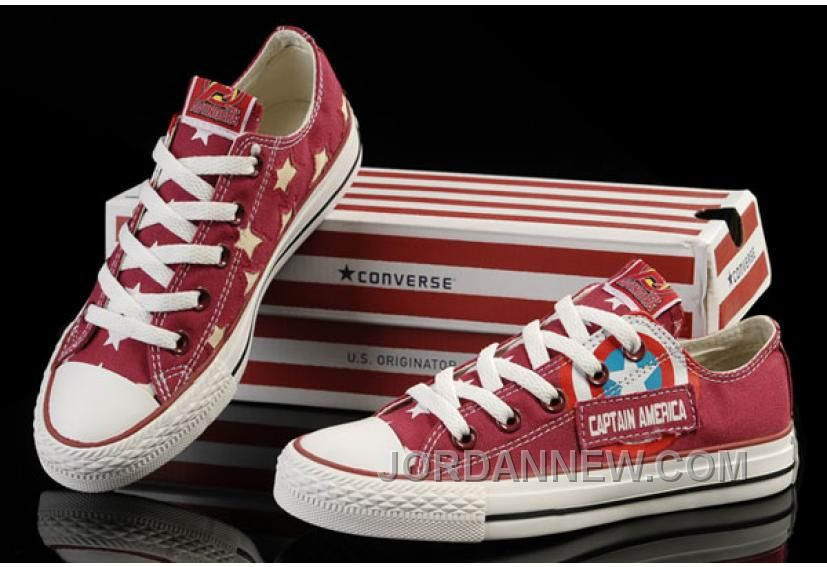 7540a8c40b01 Red Captain America CONVERSE Tops Canvas Shoes Lastest