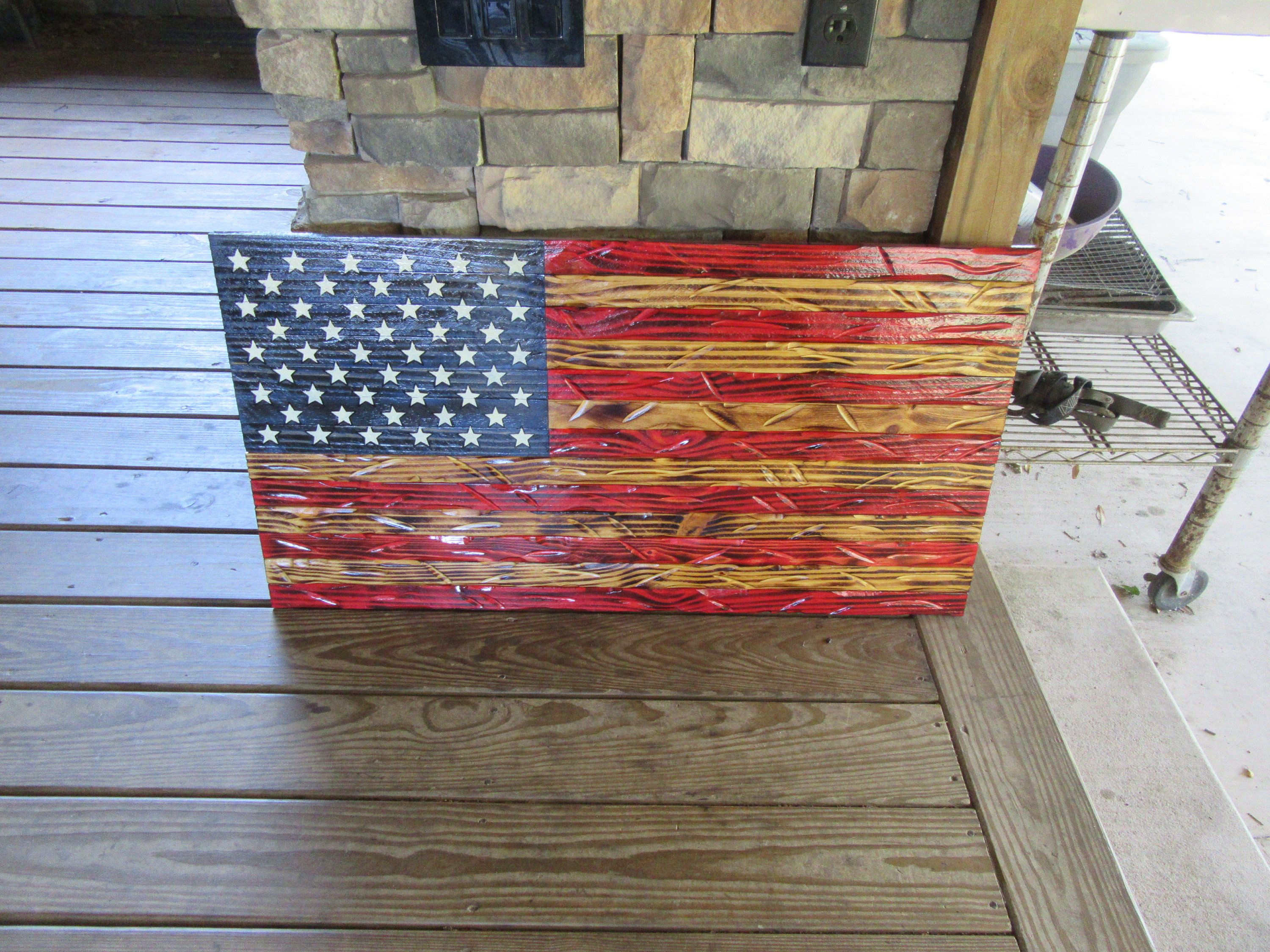 Welder Builds Wood American Flag Distressed My Store Is Metaldisorder 20 X 37 Red White Blue U S A American Flag Wood Red Wood Stain American Flag