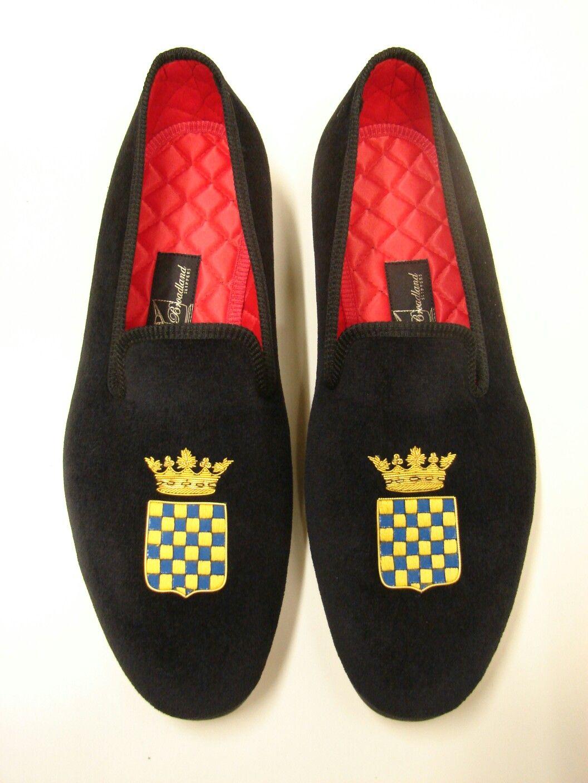 ba0d60afeb3 Broadland Slippers Black Velvet Albert with Hand Embroidered Crest ...