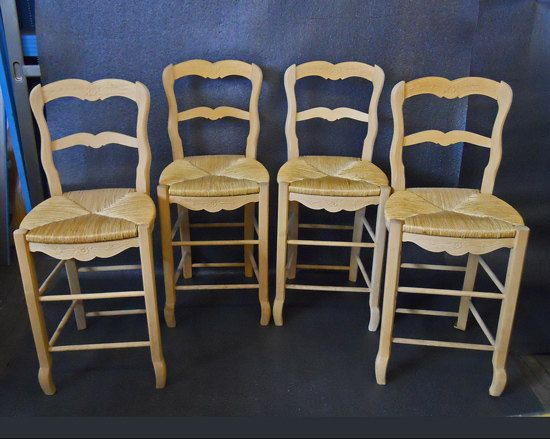 French Country Counter Stools With Rush Seats Zef Jam