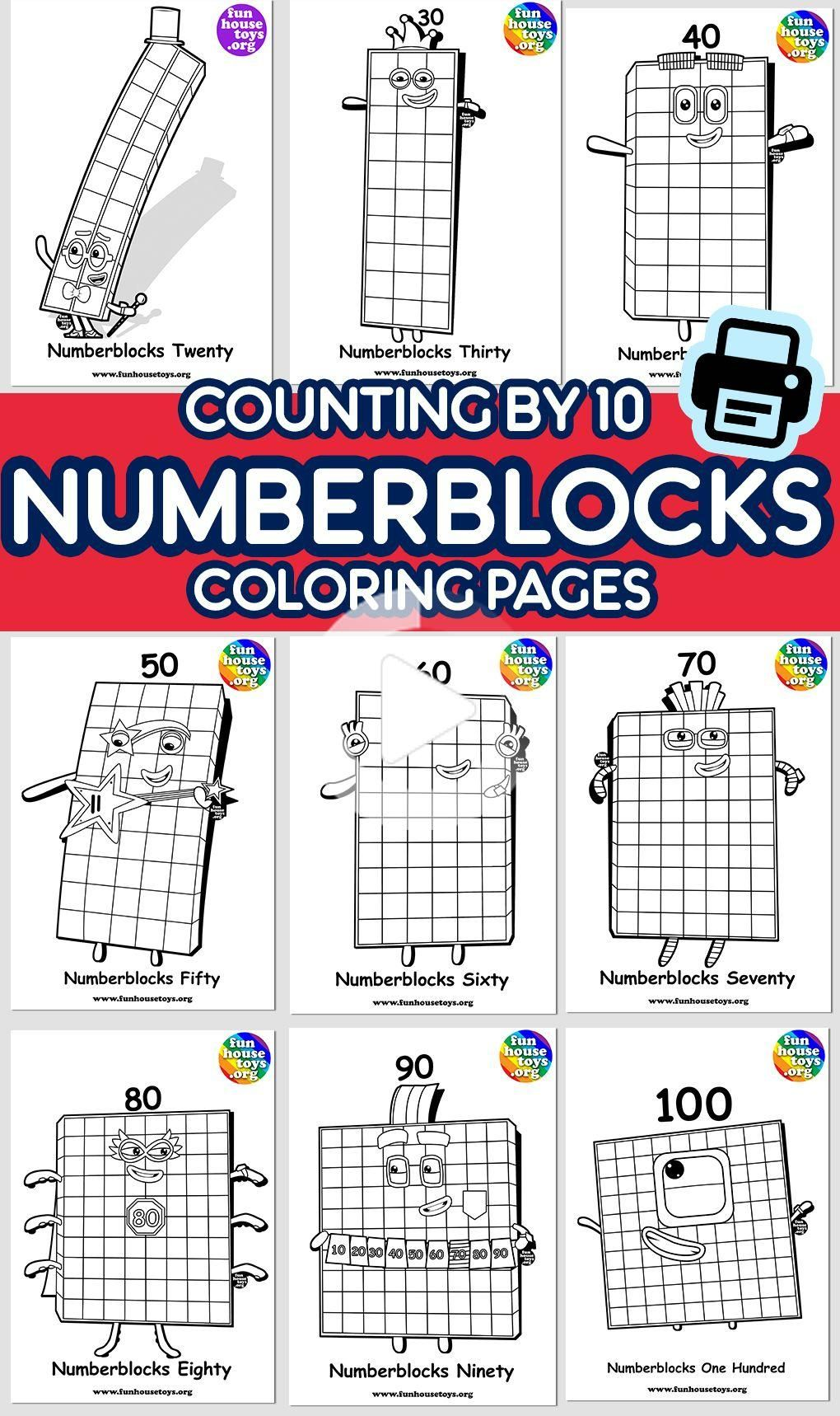 New Numberblocks 100 available as Coloring Printable for ...
