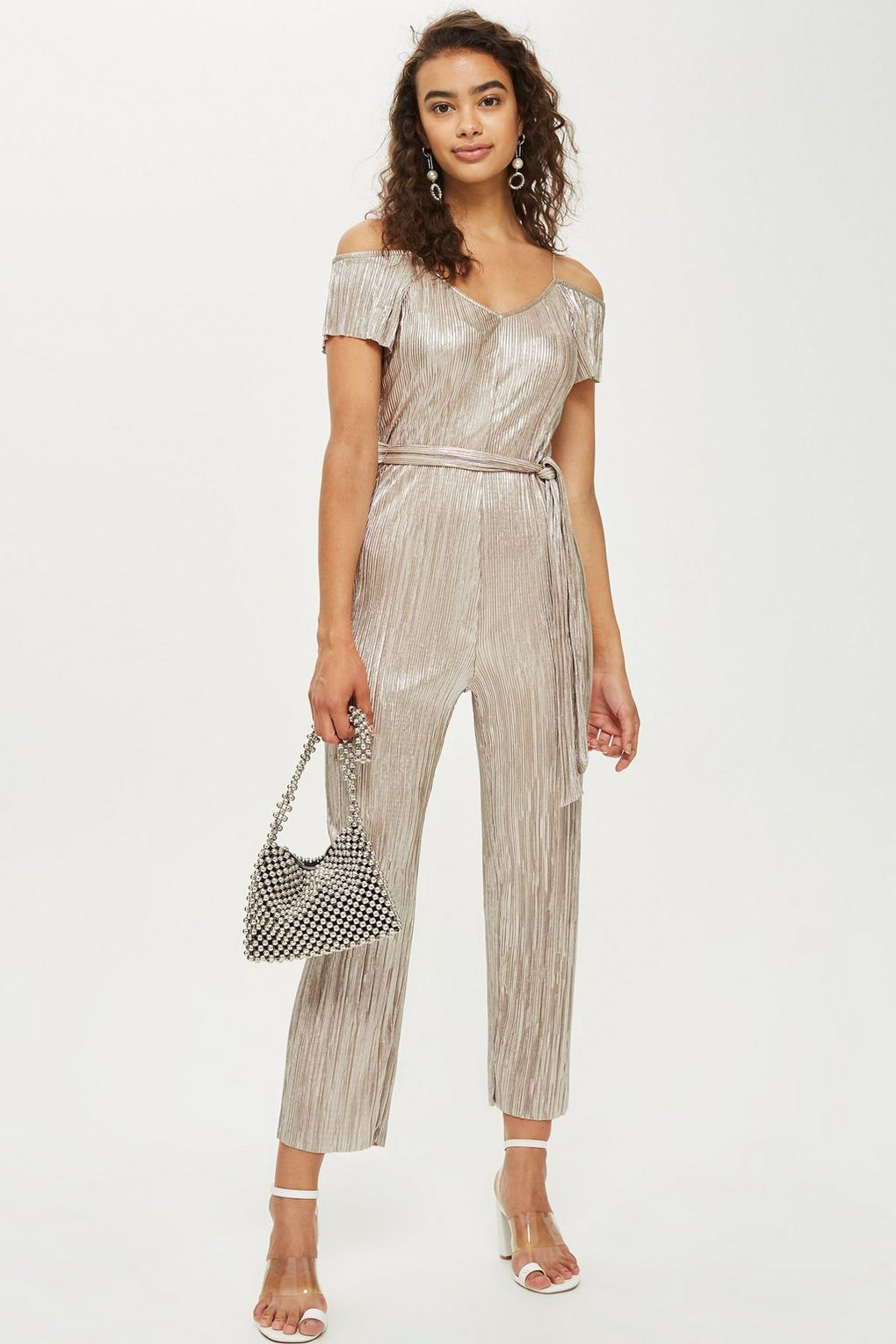 bd268bbde2f5 Metallic Plisse Jumpsuit - Topshop USA  fashion  trends  fashionweek   metallic