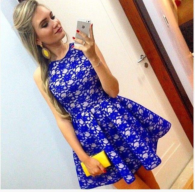 8886a167e Vestido de renda rodado Floral vestidos de festa sem mangas bonito uma  linha azul Vestido Vestido de festa curtos(China (Mainland))