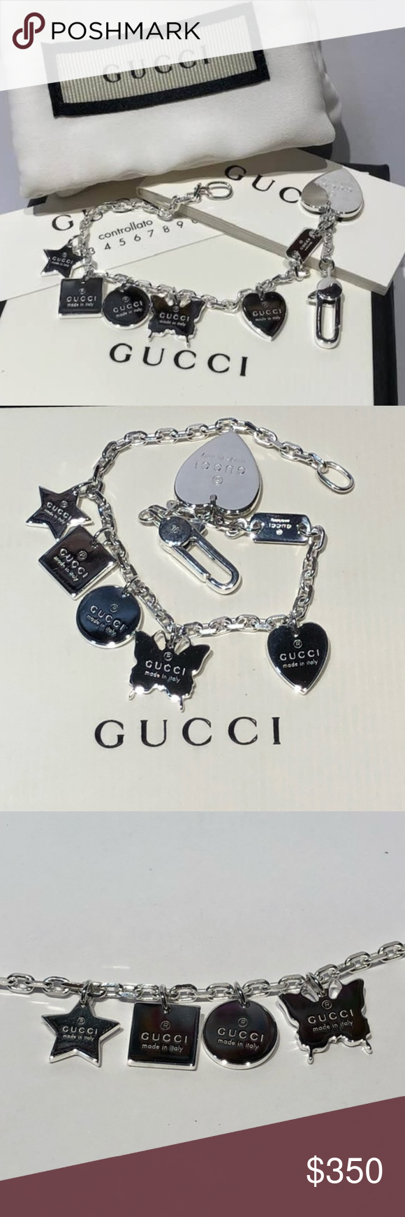 008089be6 NWT GUCCI Sterling Silver Trademark Charm Bracelet 6.5in long bracelet with  6 charms boxed, pouch included sterling silver lobster claw closure  imported, ...