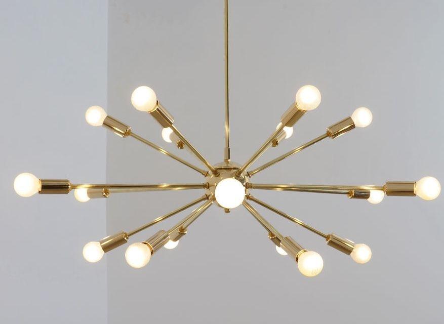 Mid Century Modern Sputnik Chandelier Light Pendant Solid Brass 18 Arms 32inch