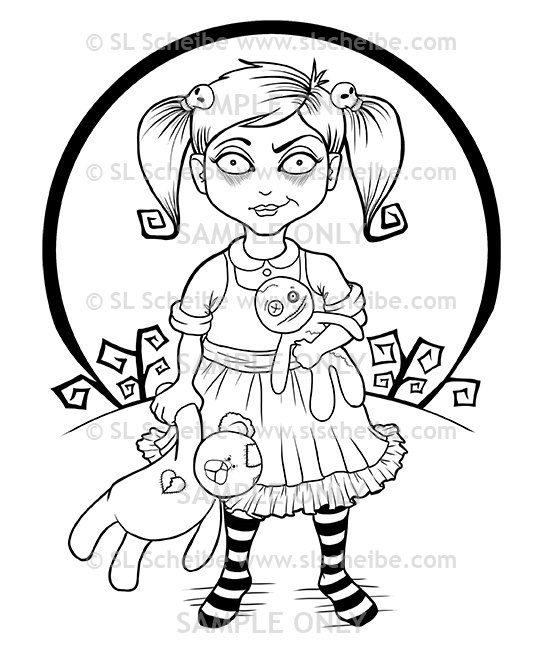 A Digital Stamp Of Cute Little Goth Girl Plays With Her Broken Teddy And Voodoo Doll