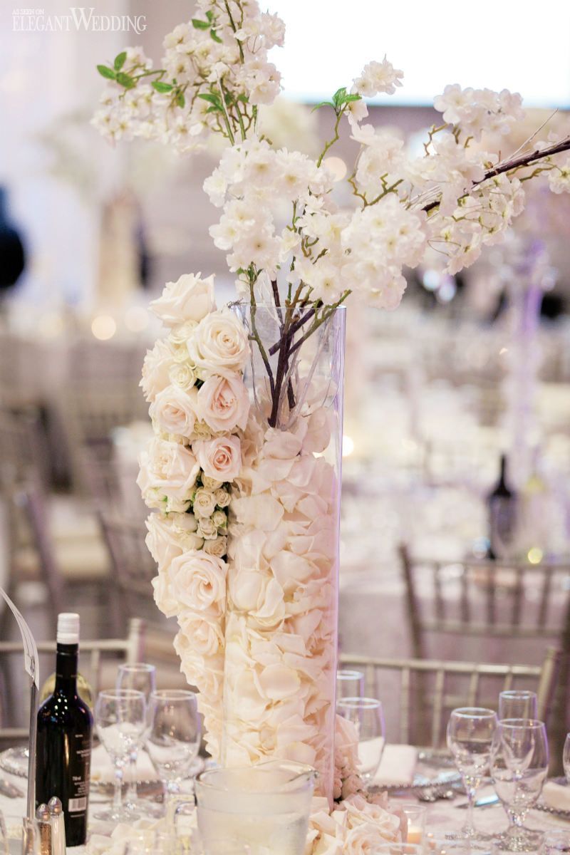 White Floral Centrepieces Table Settings Flowers Real Wedding