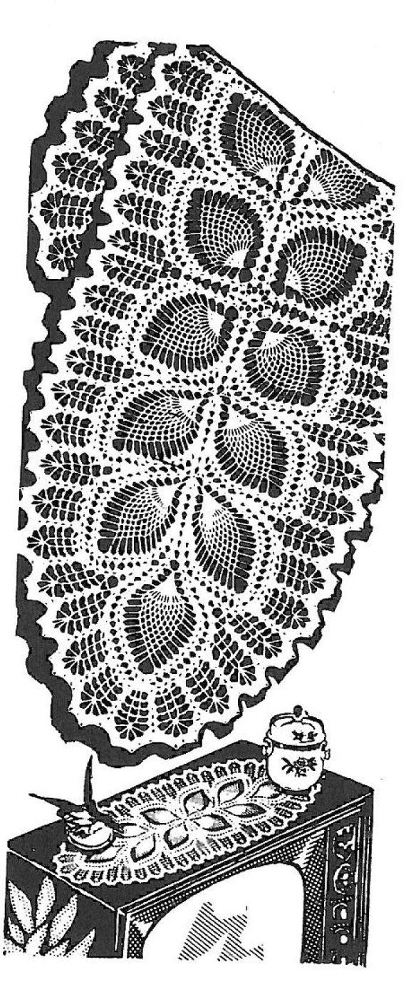Vintage Crochet PATTERN 7293 Oval doily scarf leaf & pineapple ...