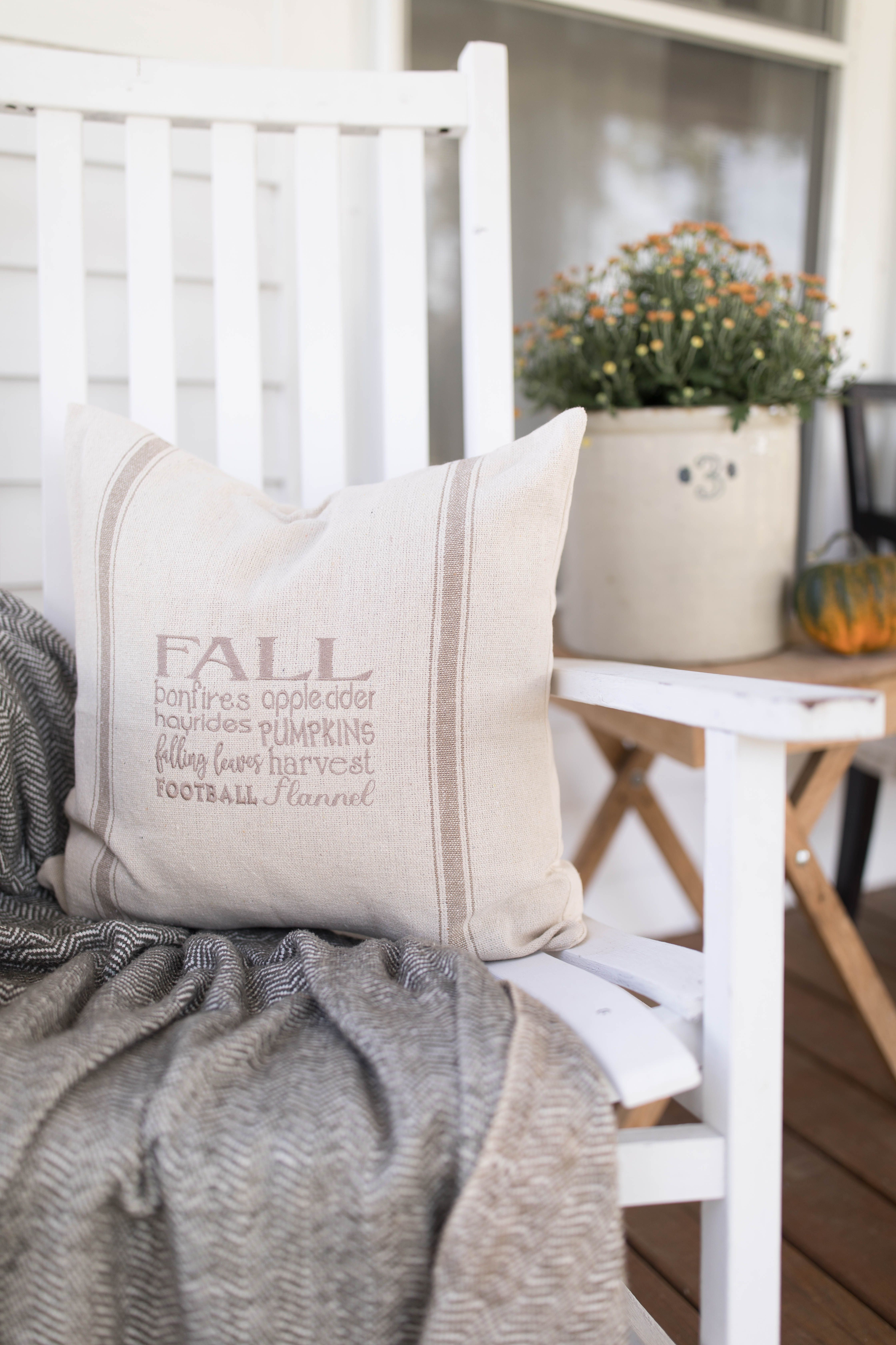 Fall favorites grain sack pillow cover available in blue tan