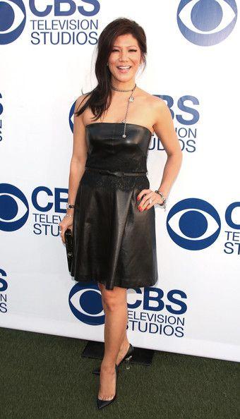 Julie Chen sexy strapless Leather Dress