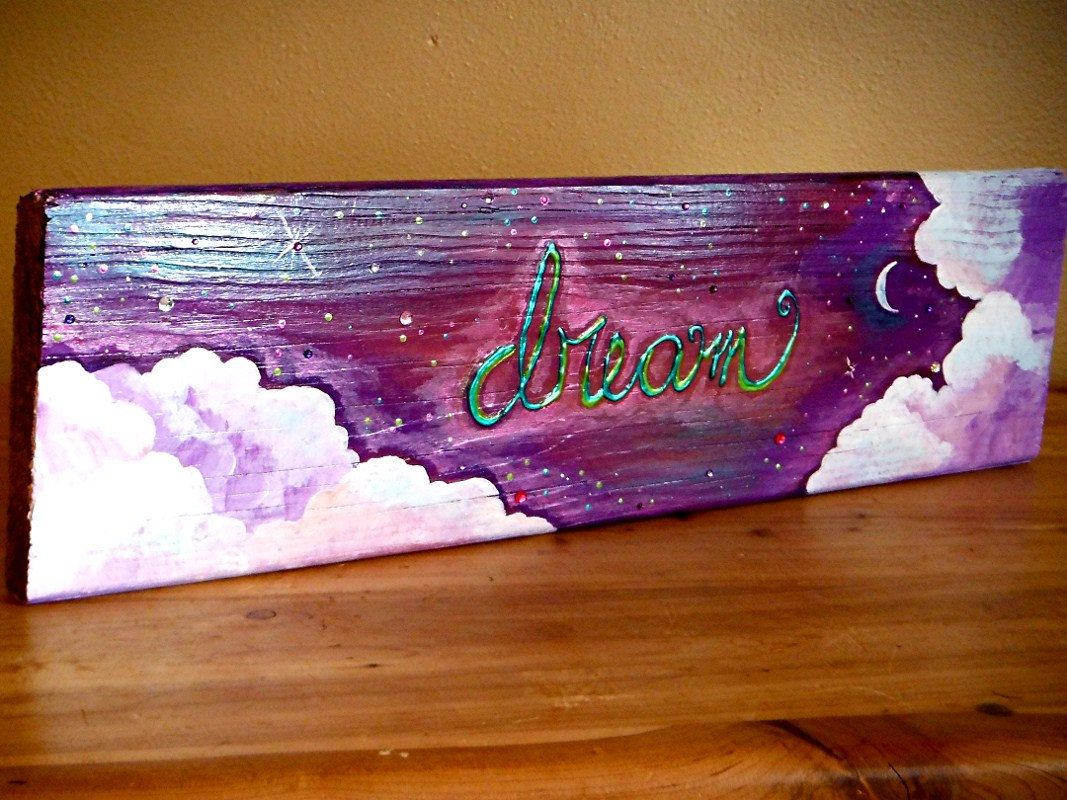 Sold dream wall decor sign repurposed fence wood acrylic paint kids