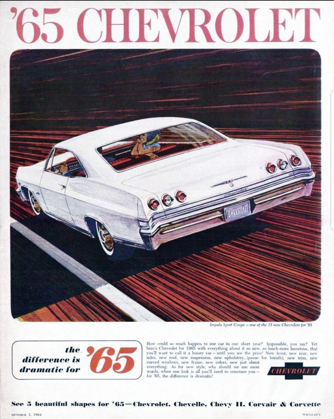Pin By Tom Lasater On Car Advertisement In 2020 1965 Chevy