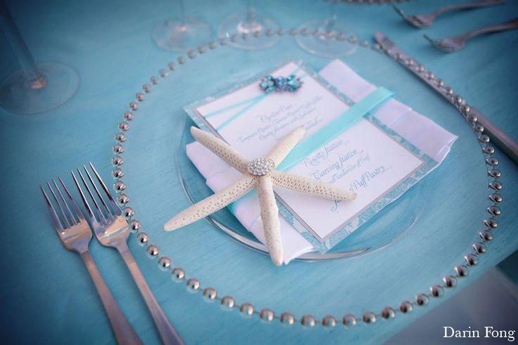 tiffany blue arch beach wedding | tiffany blue + starfish