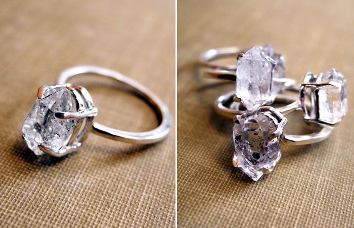 Herkimer Diamond Engagement Rings The Are Actually Quartz Crystal But Have Look Of Clear Diamonds