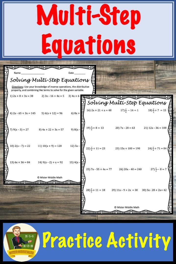 MultiStep Equations Worksheet (Distributive Property